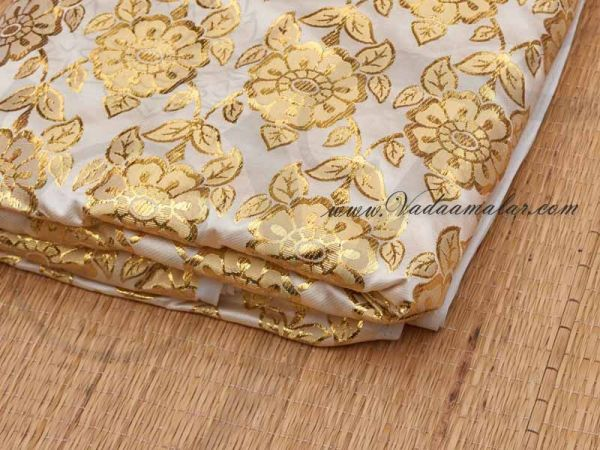 Cream Colour with Gold flower print synthetic fabric for decorations -  Buy Online