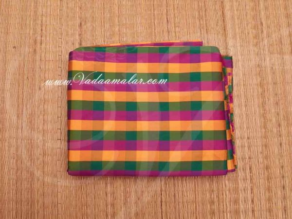 Silk Cotton Fabric Checked Design Multi Color Material Buy online