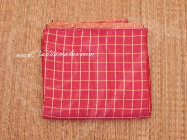 Silk Cotton Fabric Checked Design Pink Colour  Material Buy online