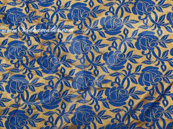 Gold with Blue Flower Print Synthetic Fabric for Decorations - Buy Online
