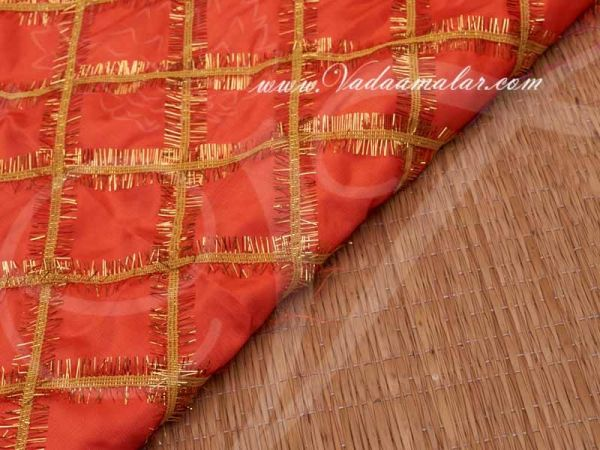 Orange Colour With Gold ribbon synthetic fabric for decorations - Buy Online