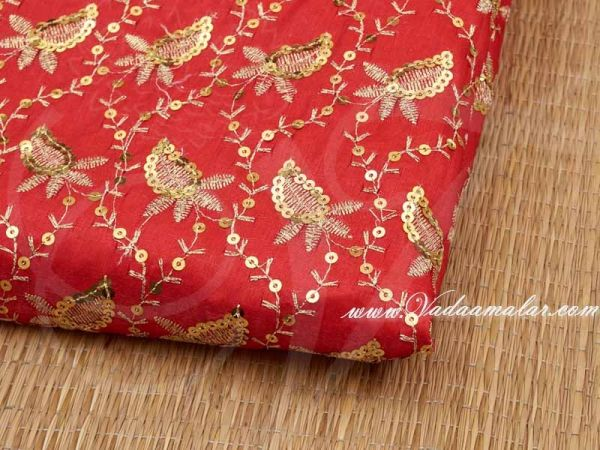 Gold Leaf Synthetic Sequin Fabric for Decorations - Red Buy Online