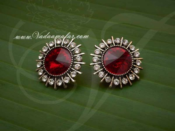 Oxidised Silver Maroon Colour Stone Ear Studs  - Buy now