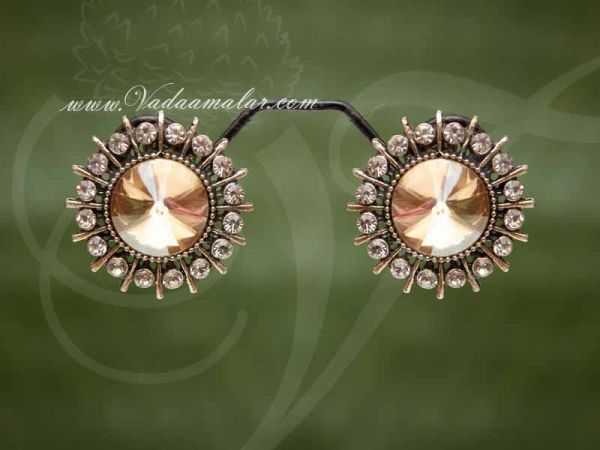 Oxidised Silver Gold Colour Stone Ear Studs  - Buy now