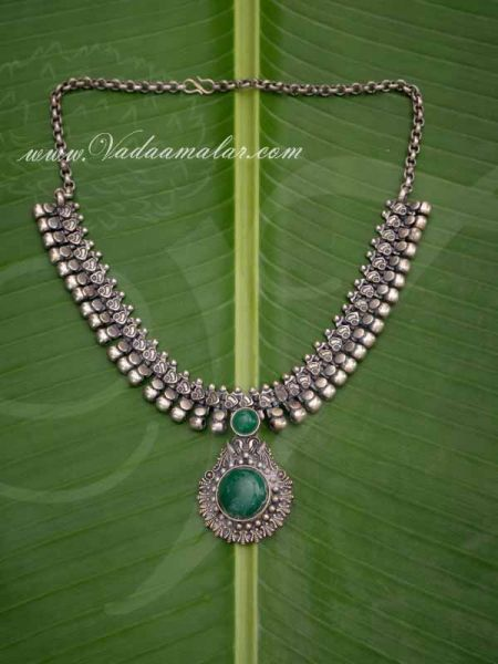 Silver Color Short Necklace Trendy Design Green Stone Pendant Buy Now