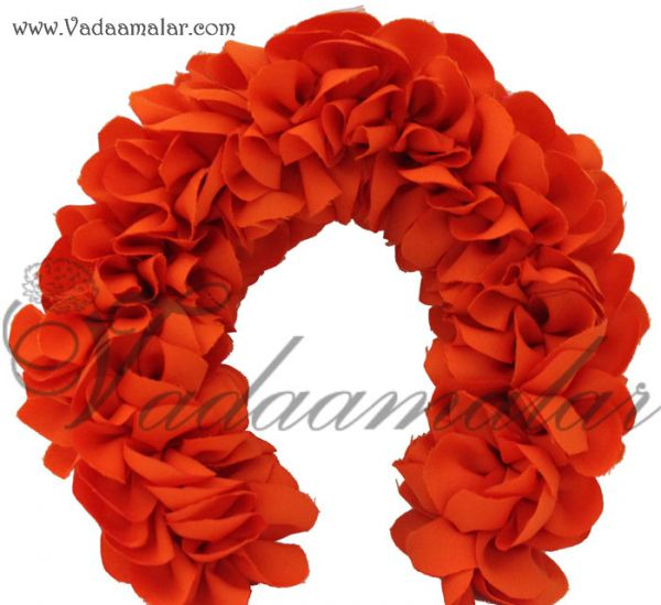 Artificial Orange Color Flower Veni Strand For Hair Braid Band India