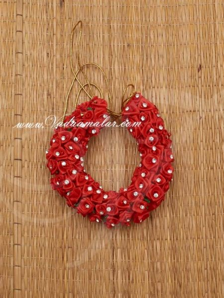 Red Color Rose Flower for Hair Braid Band India Wedding Dances