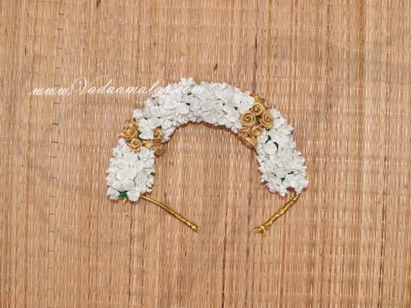 White with Gold Color Rose Flower for Hair Braid Band India Wedding Dances