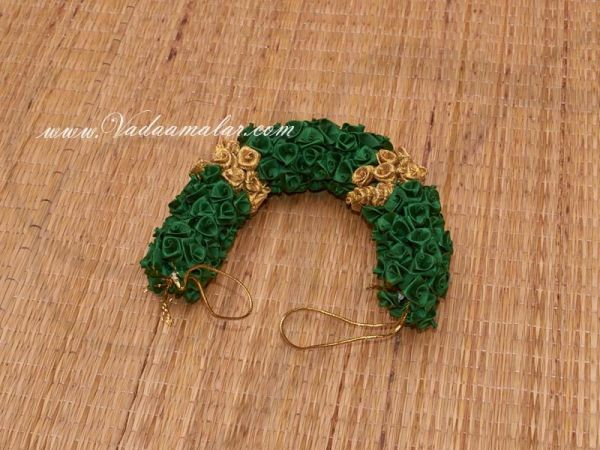 Green with Gold Color Rose Flower for Hair Braid Band India Wedding Dances
