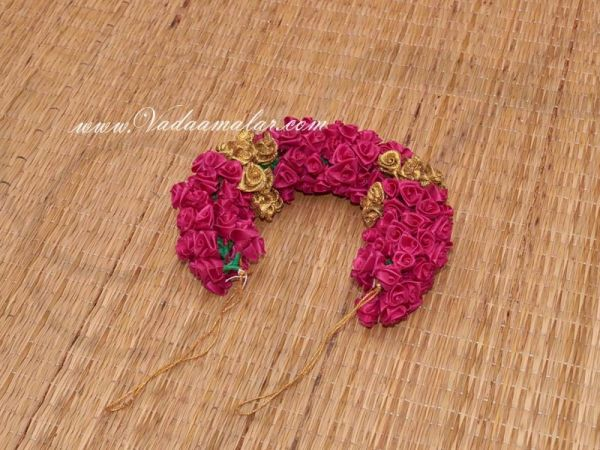 Pink with Gold Color Rose Fabric Flower for Hair Braid For India Wedding Barathanatyam and Kuchipudi