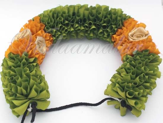 Green Fabric Flower Strand For Hair Braid For Indian Wedding, Barathanatyam and Kuchipudi