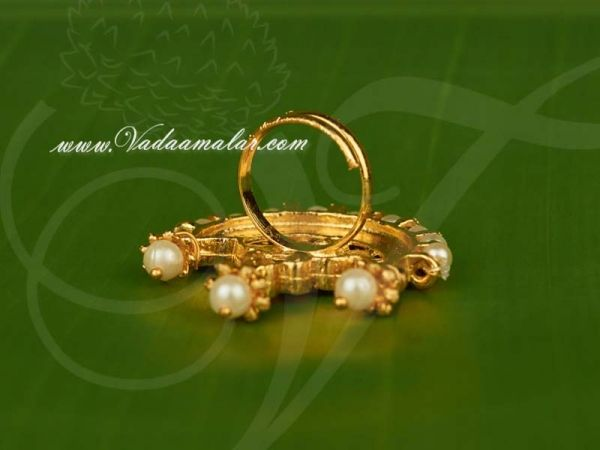Kempu Stones With Pearls Moon Shaped Design Finger Ring For Bharatanatyam Dance and Temple Buy Online
