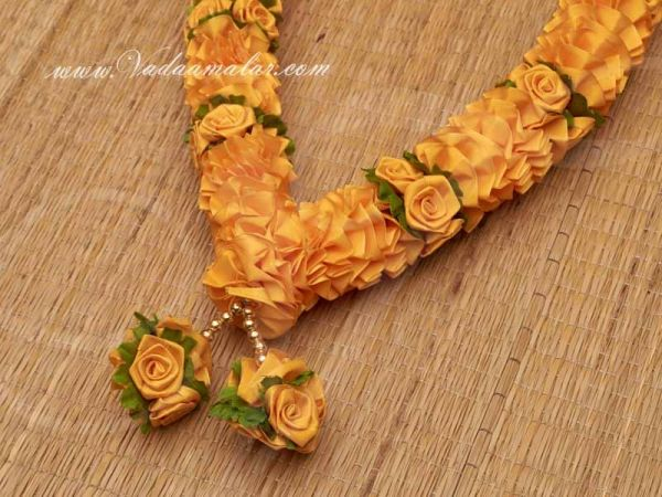Yellow artificial flower garlands Synthetic Stain Rose flowers garlands - 1 piece