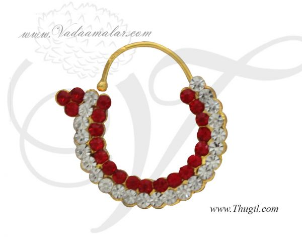 1 inches Deity Nath White and Red Stone Nose Ring Nath  Amman Ornaments