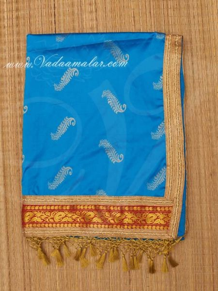 30 x 38 inches Poly Cotton Shawl with Gold Lace Zari Stole for Murthi Deity