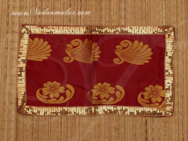 8 x 14 Maroon with Gold Poly Cotton  Shawl Gift Stole for Murthi Deity