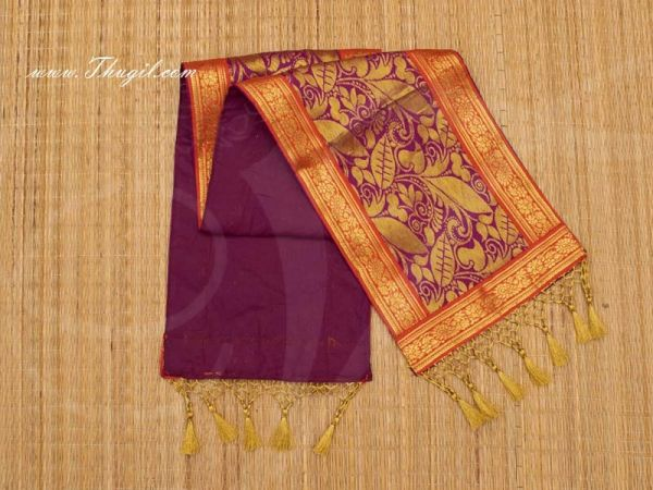 8 x 42 Magentha with Red Poly Cotton  Shawl Gift Stole for Murthi Deity