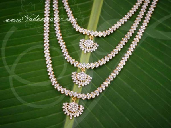Hindu Idol Ornaments White Colour Step Necklace Haarams Jewellery 9 Inches Buy Now