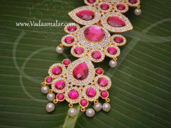 Centre Piece Necklace Pink Color Swamy Decoration Haram for GOD 14 Inches Buy Now