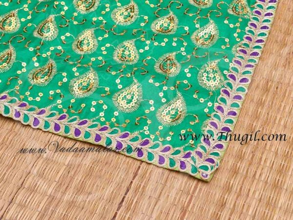 Green with Gold Asana Pooja Mat Statue placement Mat Gift for Murthi Deity