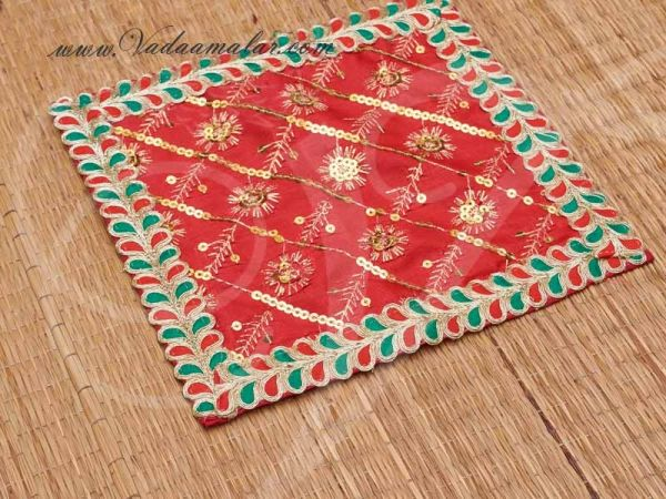 Red With Gold Asana Pooja Mat Statue Placement Mat Gift for Murthi Deity