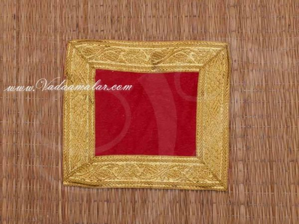 Red with gold Velvet Puja Aasan / Pooja Mat / God Cloth for Pooja