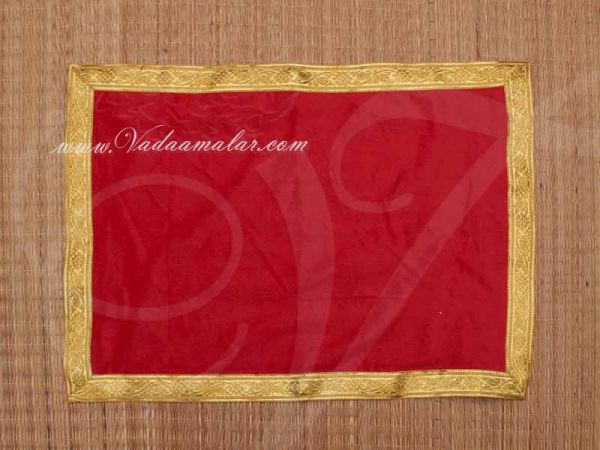 Red with gold Velvet Puja Aasan / Pooja Mat / God Cloth for Pooja 21 x 15