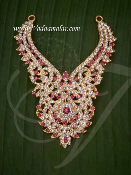 Kavasam White with Pink Step Necklace Hindu Idol Ornaments Haaram Jewellery Buy Now 4