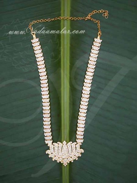 Lotus design pendant with white stone necklace buy online now