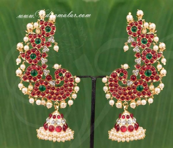 Gold Plated Earrings Peacock Kan Chain Extension First Qulity Stones Jhumkas