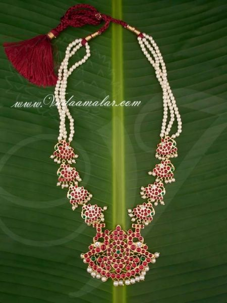 Gold Plated Temple Jewellery Kempu Stone Long Pearl Necklace