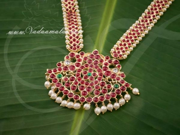 Gold Plated Temple Jewellery Kempu stone Long Malai Necklace