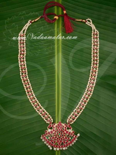 Bharatanatyam Jewelry Design Temple Jewellery Kempu stone Long Malai Necklace