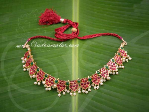 Gold plated temple jewellery kempu short necklace for sarees traditional costumes buy now