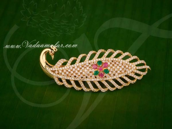 Peacock design Ruby Emerald Stones Hair Clip Jewellery for Gifts