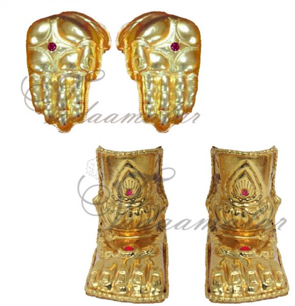 3 to 4 inches Hastham Paatham Deity Vigraha Palm Feet Decoration Gold Plated Temple Ornaments Buy Online