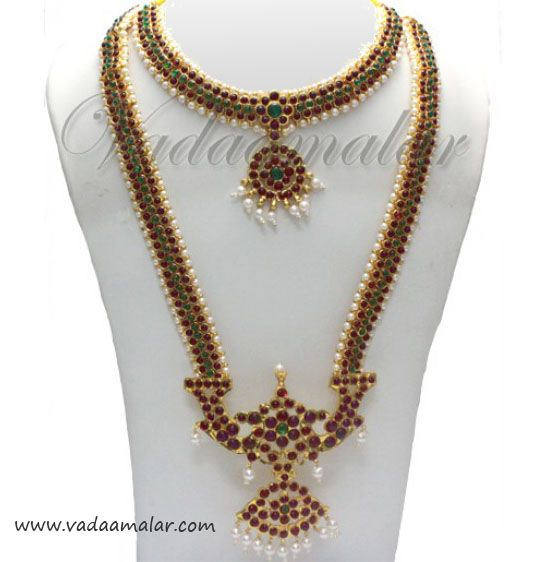 Long and short Temple Bharatanatyam dance jewelry Aaaram necklace set with kemp stones