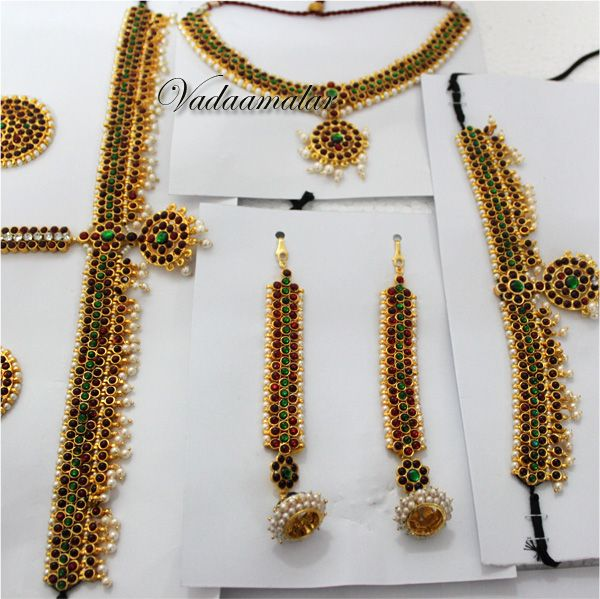 10 pieces Red kemp stones and pearls bridal jewelry Bharatanatyam dance set
