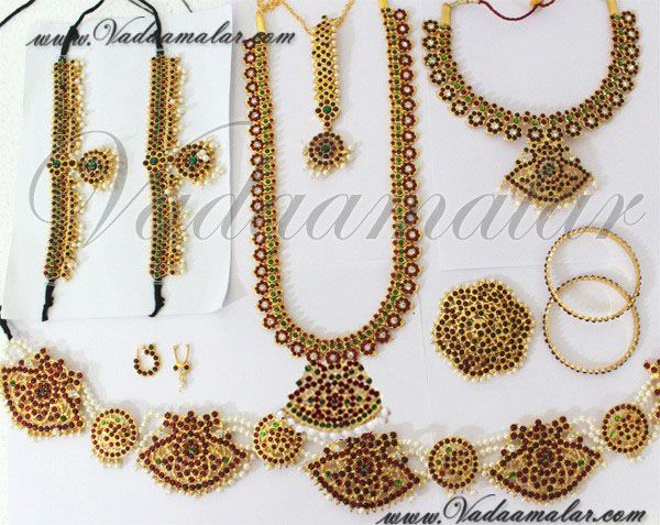 10 pcs Traditional south Indian kemp stone temple Indian bridal jewelry jewellery set