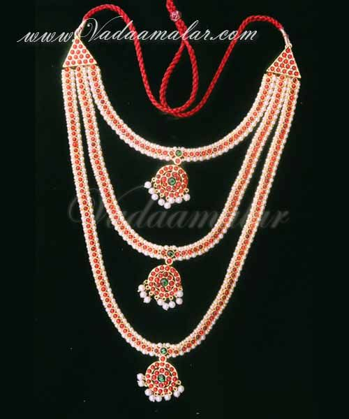 3 necklaces set Pearl Chain Jewellery for Brides bharatanatyam dances