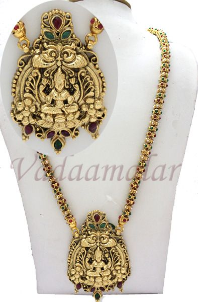 002 Buy Antique Jewellery studded with rubies with Goddess Lakshmi Pendant - Long