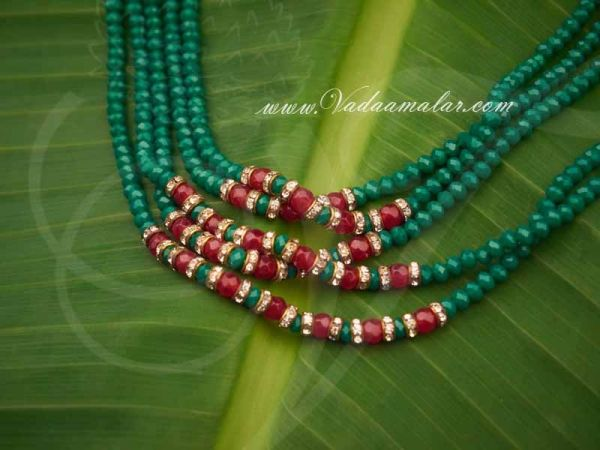 Double side pendant green crystal beads step necklace for Sarees
