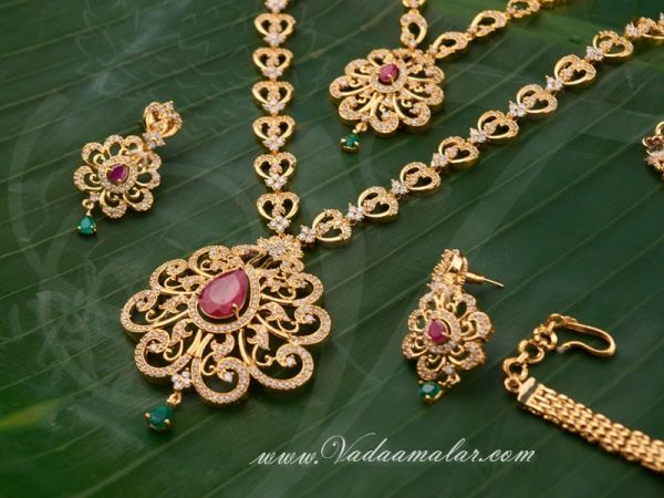 American Diamond with Ruby Stones Indian Bridal Jewellery Set