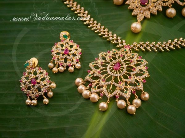 A.D Stones Short and Long Necklace Indian Bridal Jewellery Set