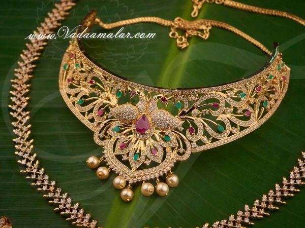 Peacock Design Ruby Emerald Stones Short and Long Necklace Indian Bridal Jewellery Set