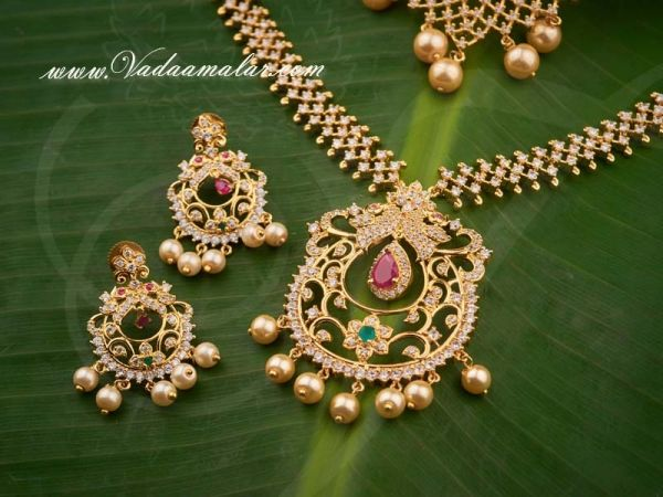 Peacock Design Ruby Emerald Stones Short and Long Necklace Set