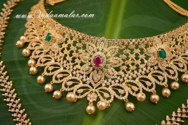Ruby Emerald Stones Short and Long Necklace Indian Bridal Jewellery Set