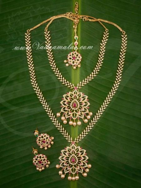 Gold plated Ruby Emerald Stones Short and Long Necklace Indian Bridal Jewellery Set