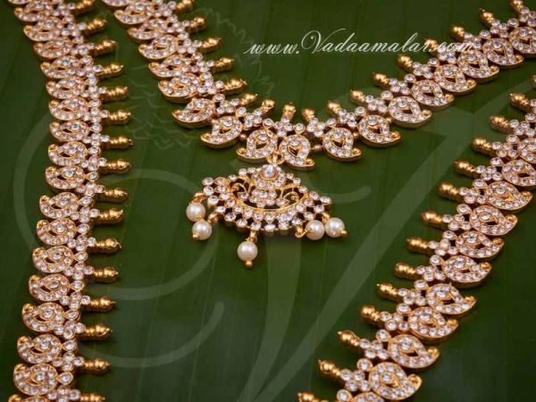 White Stone Indian Bridal Wedding Jewellery Long and Short Necklace Set Buy Now