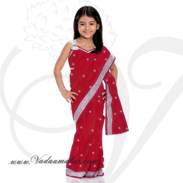 Red Girls Childrens Ready made Sarees pleated India Indian saree costume